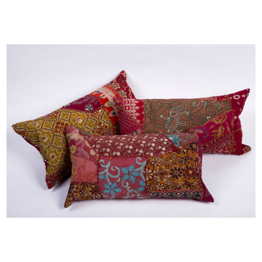 Guatemalan Patchwork Quilt Terracotta Rust Embroidered
