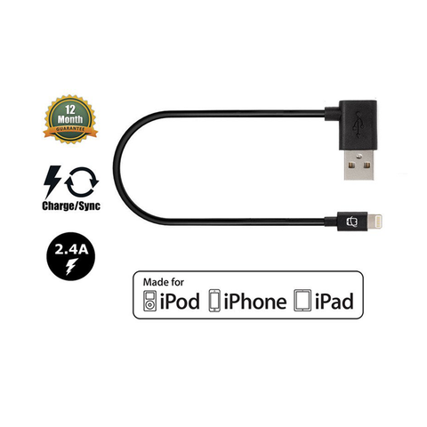 Apple Certified Lightning to Angled USB Sync/Charge Cable - 11 Inches (Black) - CreatePros, LLC - 1