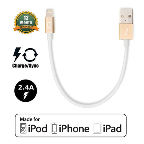 Short 7.5in Apple Certified Lightning to USB 2.0 Data Sync and Charge Cable (White/Gold) - CreatePros, LLC - 1