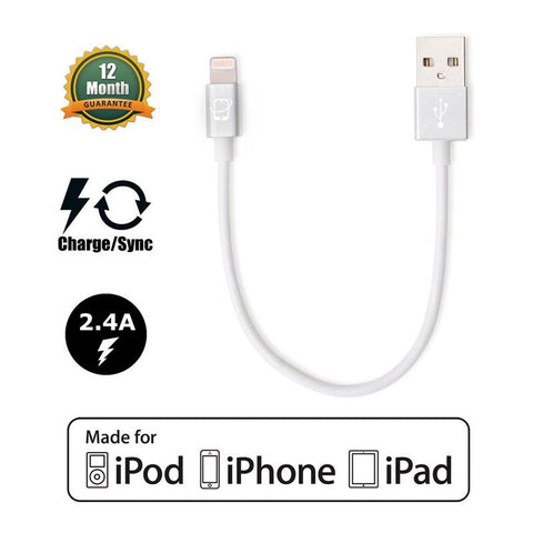 Short 7.5in Apple Certified Lightning to USB 2.0 Data Sync and Charge Cable (White/Silver) - CreatePros, LLC - 1