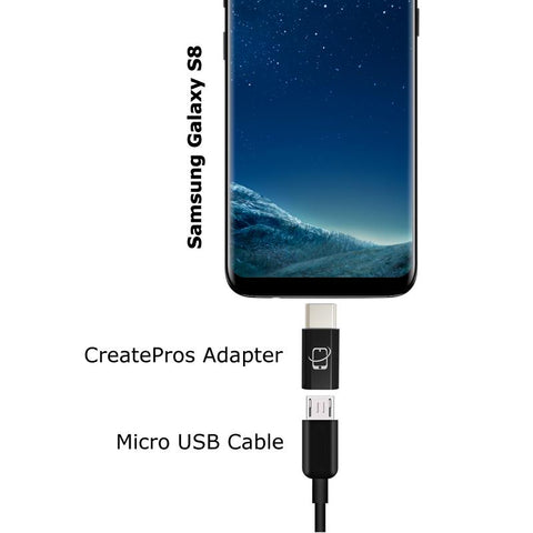 Multi-Pack of USB C to Micro USB Adapter Connector Type C Standard (Black)
