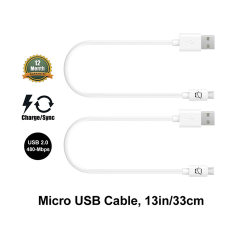 2-Pack of Premium Micro USB Cables for DJI Inspire 1 Phantom 3,4 - White - 13 Inches - CreatePros, LLC - 1