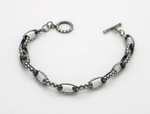 Quilted Link Toggle Bracelet in Sterling Silver