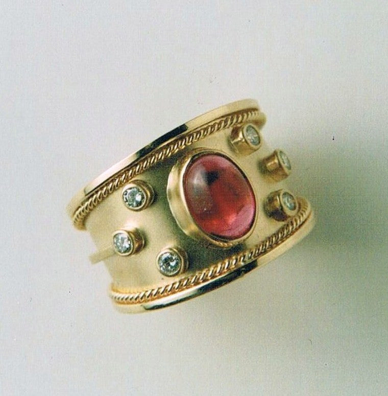 Cabochon Tourmaline and Diamond Ring