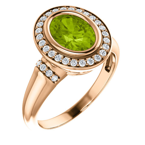 Peridot and Diamond Halo Ring
