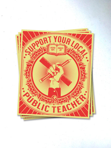 Support Your Local Teacher Sticker - United State of Indiana: Indiana-Made T-Shirts and Gifts