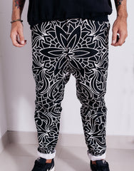 Nemis Abstraction Drop Crotch Pants Black Front Details