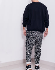 Nemis Abstraction Drop Crotch Pants Black Back