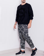 Nemis Abstraction Drop Crotch Pants Black Side