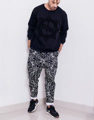 Nemis Abstraction Drop Crotch Pants Black Main