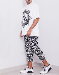 Nemis Arabic Logo White Tapered Pants Outfit Side