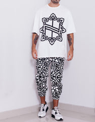 Nemis Arabic Logo White Tapered Pants Outfit
