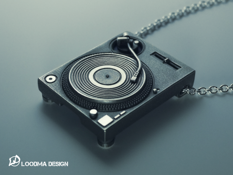 Turntable Necklace / SD Card Holder - Silver (925)