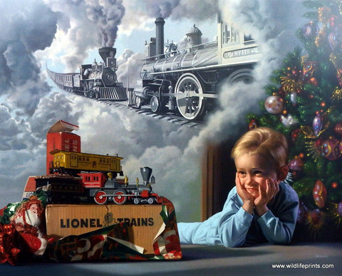 Bob Byerley Children's Print Playing Railroad Locomotive Engineer