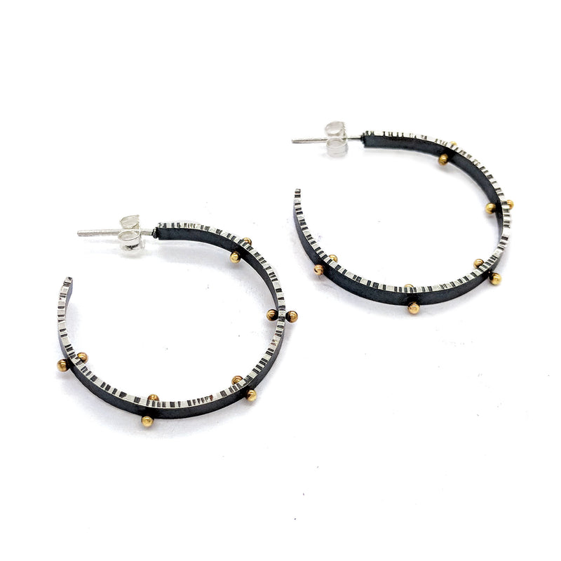 Front Facing Lined Hoop Earrings with 14K pegs - DanaReedDesigns