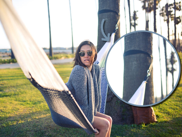 Tree-friendly hammock hanging straps for handmade hammock relaxing - great for backyard or camping!