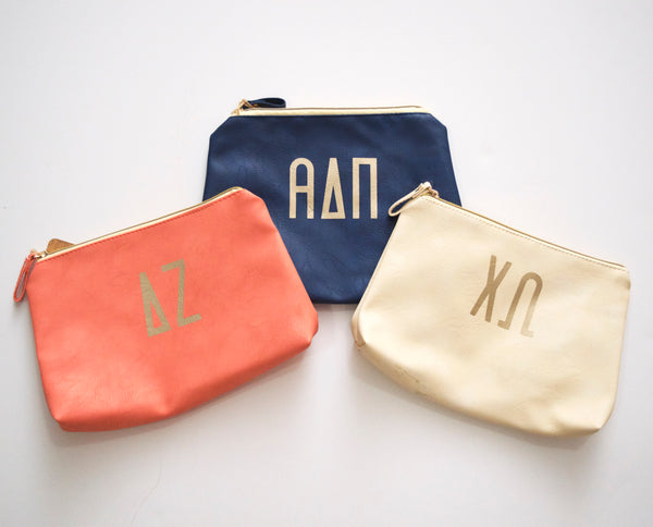 Leather Sorority Cosmetic Bag