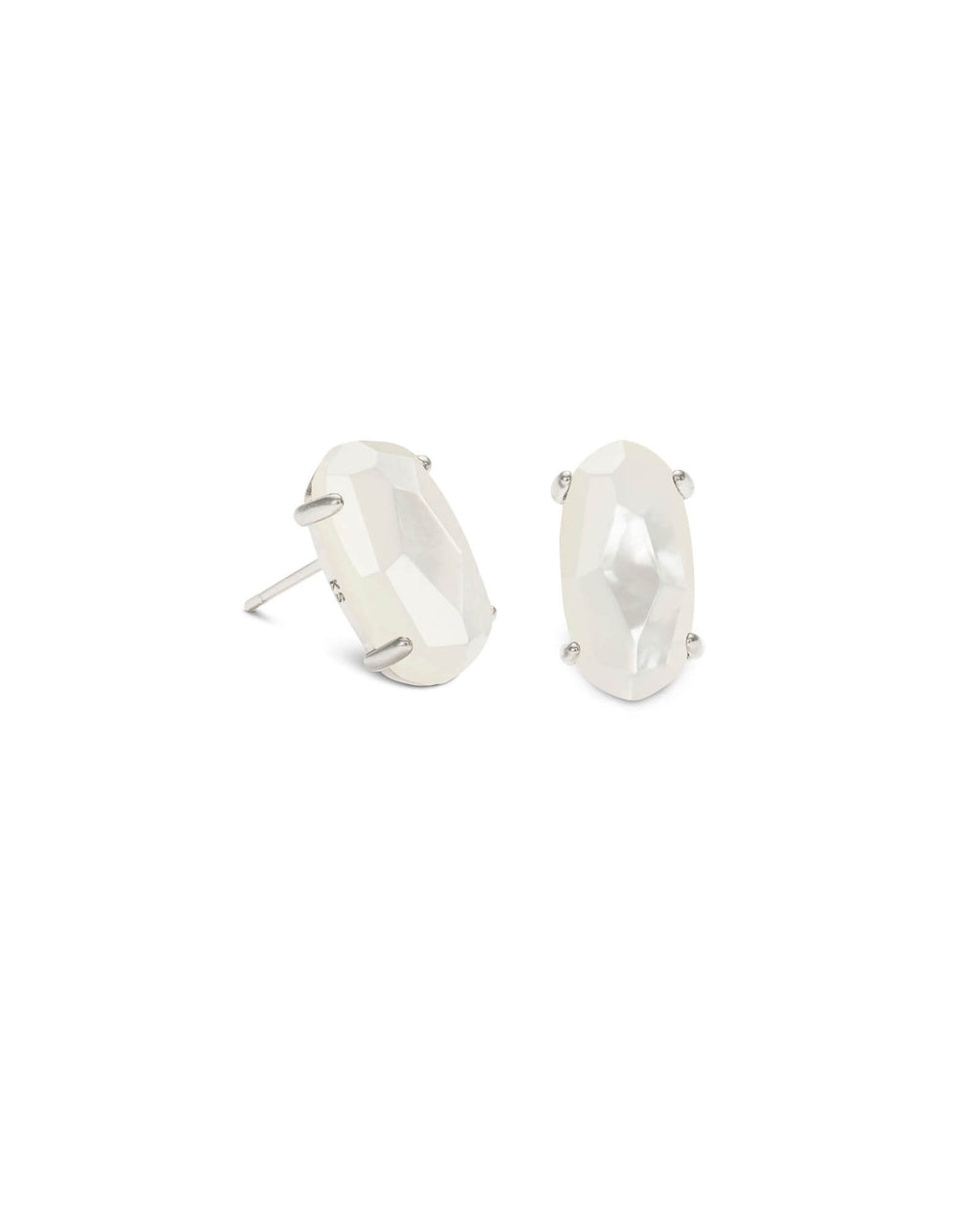 KENDRA SCOTT Betty Silver Stud Earrings - Ivory Mother of Pearl