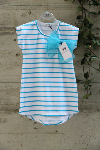 Girls white t-shirt with blue stripes and bow - Piccola Ludo