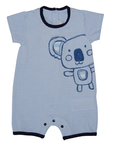 Baby cotton blue romper with panda - Mash