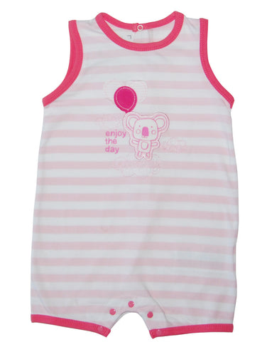 Pink cotton stripped baby-grow with panda - Mash