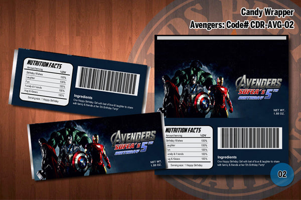 Personalized AVENGERS Printable Candy Bar Wrappers for the Avengers Birthday Party D#2