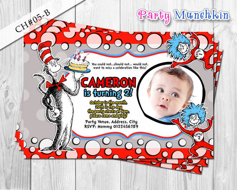 Cat  in the Hat DIGITAL Photo Invitation for Cat in the Hat inspired Birthday