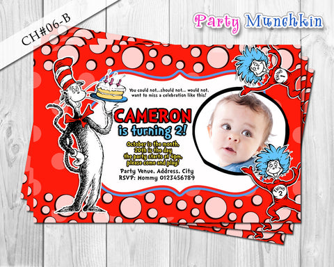 Cat  in the Hat inspired Photo Invitation for Cat in the Hat Birthday - DIY Digital