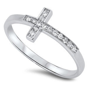 Sterling Silver Stylish Sideway Cross Design with Clear Cz Ring - Highway Thirty One