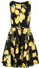 Black lemon and floral skater dress
