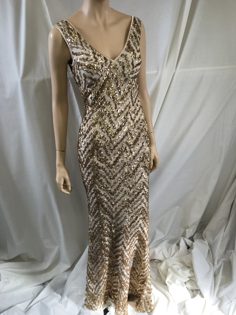 Gold ZigZag Sequined Fishtail Maxi Dress