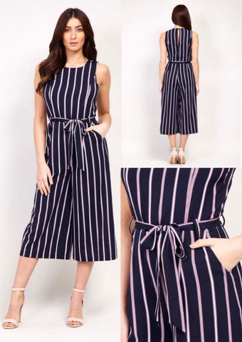 Navy and White Stripped 3/4 Length Jumpsuit with Flared Bottom