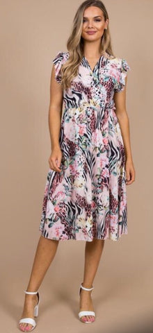 Pink and White Patterned Chiffon Maxi Dress