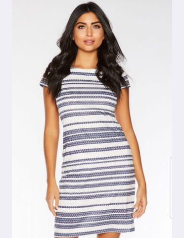Blue and White Stripped Midi Dress