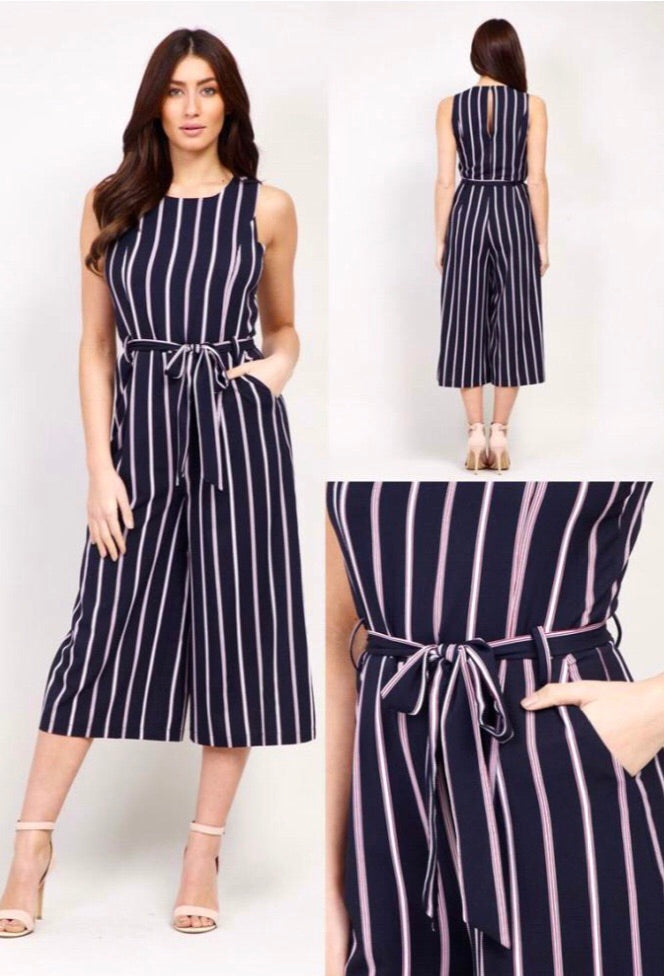 Navy and pink striped jumpsuit