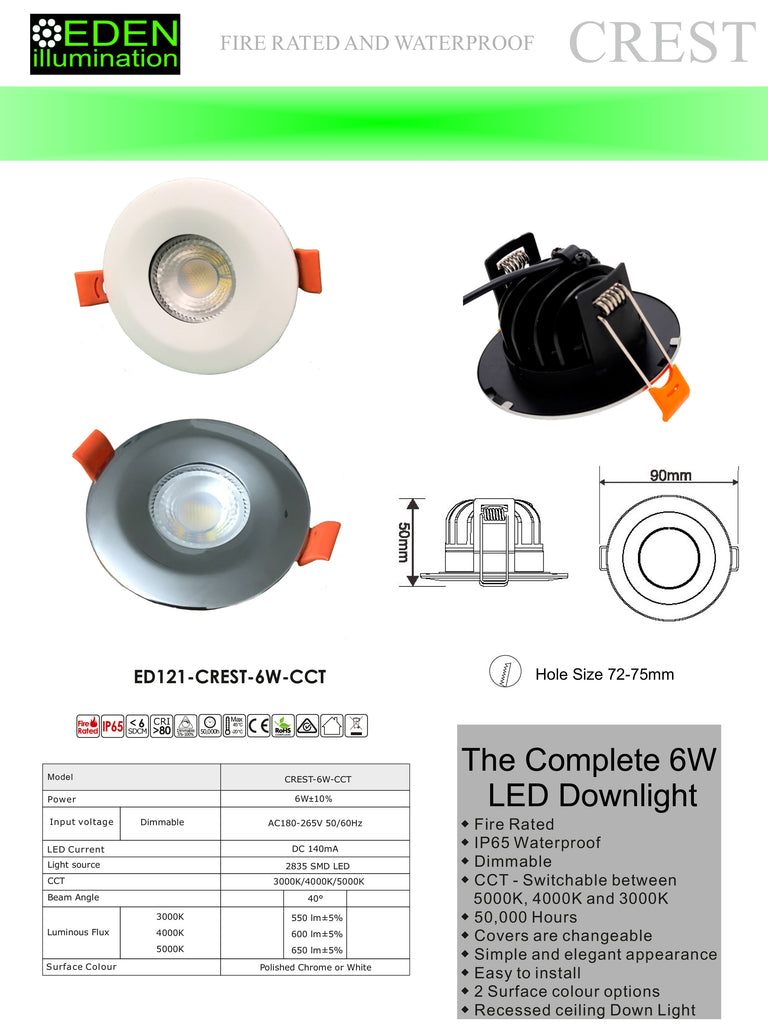 Crest 6W dimmable CCT by Eden illumination