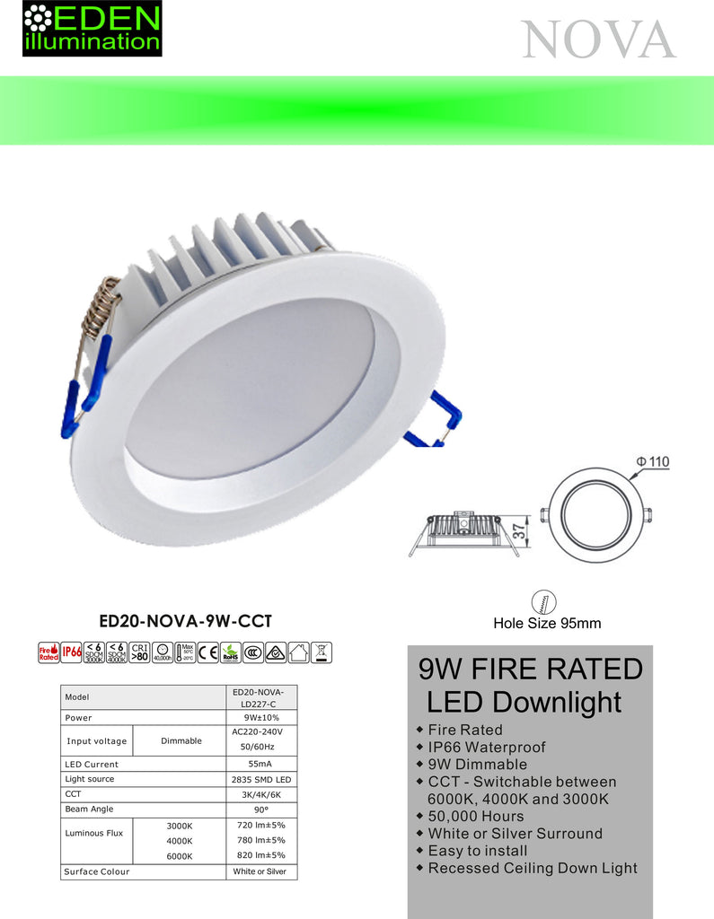 Nova Downlights - 9W CCT Dimmable from Eden illumination