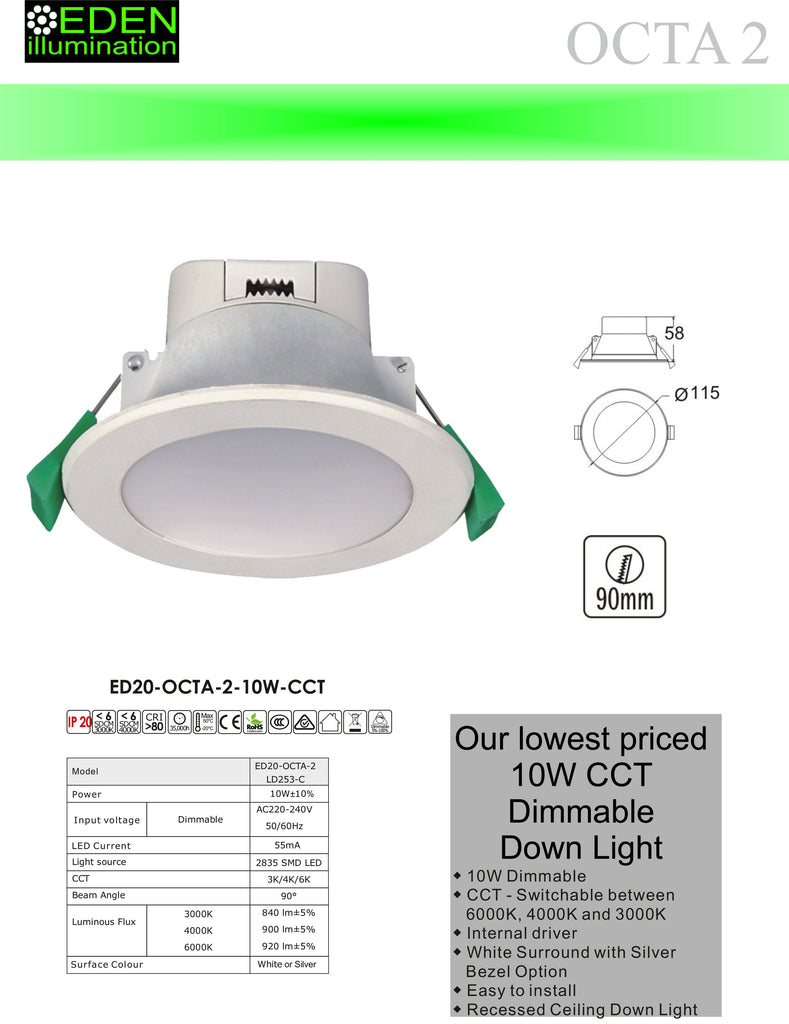 Octa 2 - 10W CCT Dimmable Down Light from Eden illumination