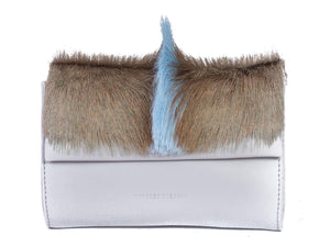 Mini Springbok Handbag in Baby Blue with a Fan by Sherene Melinda Front