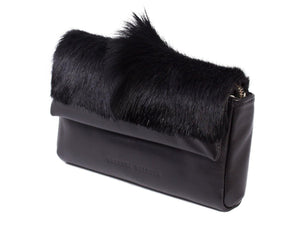 sherene melinda springbok hair-on-hide black leather Sophy SS18 Clutch Bag Fan side angle