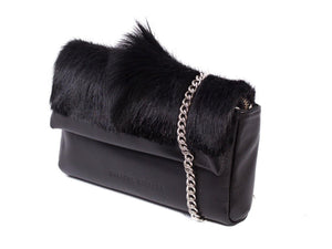 sherene melinda springbok hair-on-hide black leather Sophy SS18 Clutch Bag Fan side angle strap