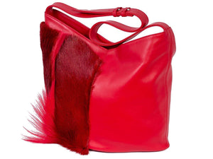 Hobo Springbok Handbag in Red with a Fan by Sherene Melinda Fan Front Right