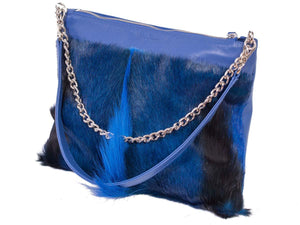 Multiway Springbok Handbag in Royal Blue with a Fan by Sherene Melinda Side Angle Strap