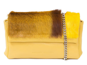 sherene melinda springbok hair-on-hide yellow leather Sophy SS18 Clutch Bag stripe front strap