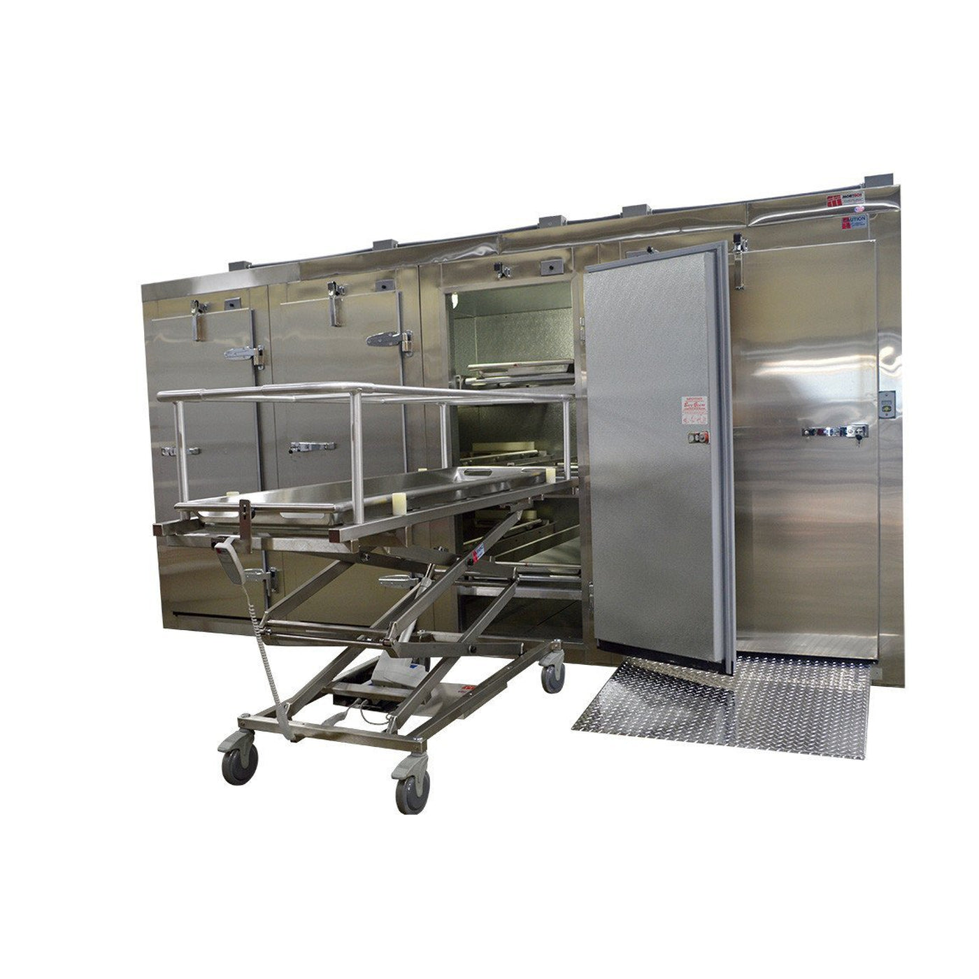 Complete Hospital Body Handling System-Body Transporter-Mortech Manufacturing Company Inc. Quality Stainless Steel Autopsy, Morgue, Funeral Home, Necropsy, Veterinary / Anatomy, Dissection Equipment and Accessories