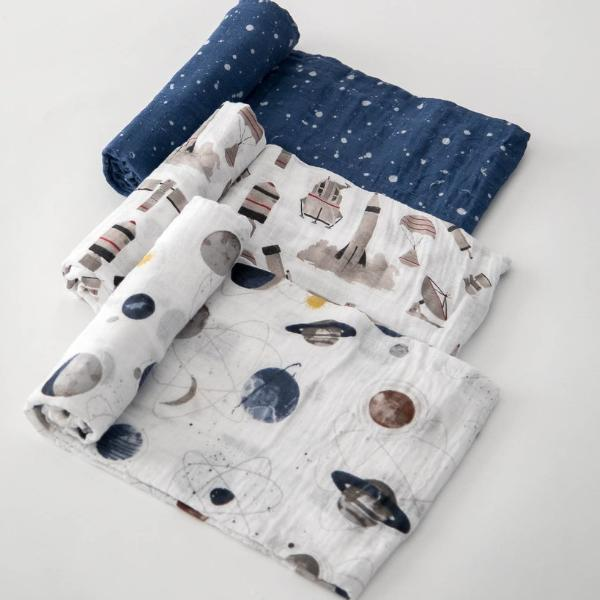 Cotton Muslin Swaddle 3-Pack - Ground Control by Little Unicorn