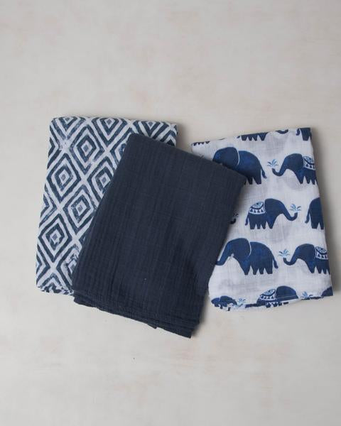 Cotton Muslin Swaddle 3-Pack - Indie Elephant by Little Unicorn