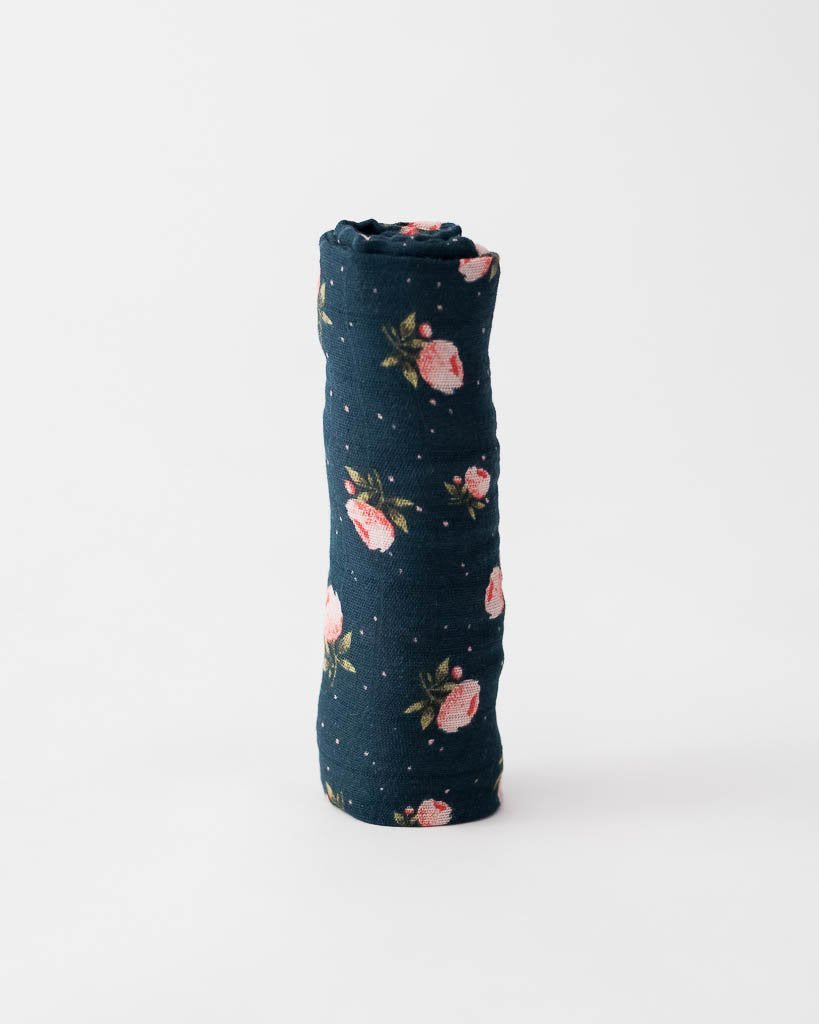 Cotton Muslin Single Swaddle - Midnight Rose by Little Unicorn