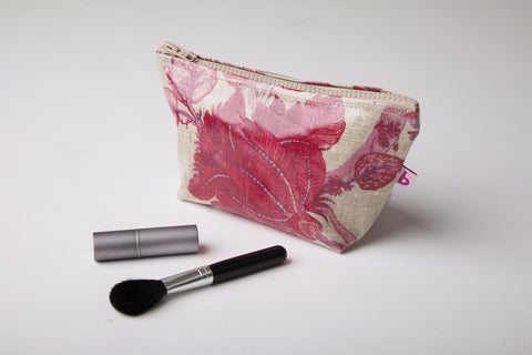 Pink Floral Linen Make-up bag