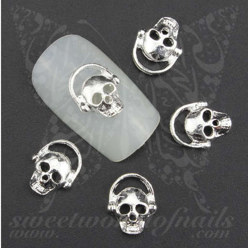 3D Silver Skull Halloween Nail Charms